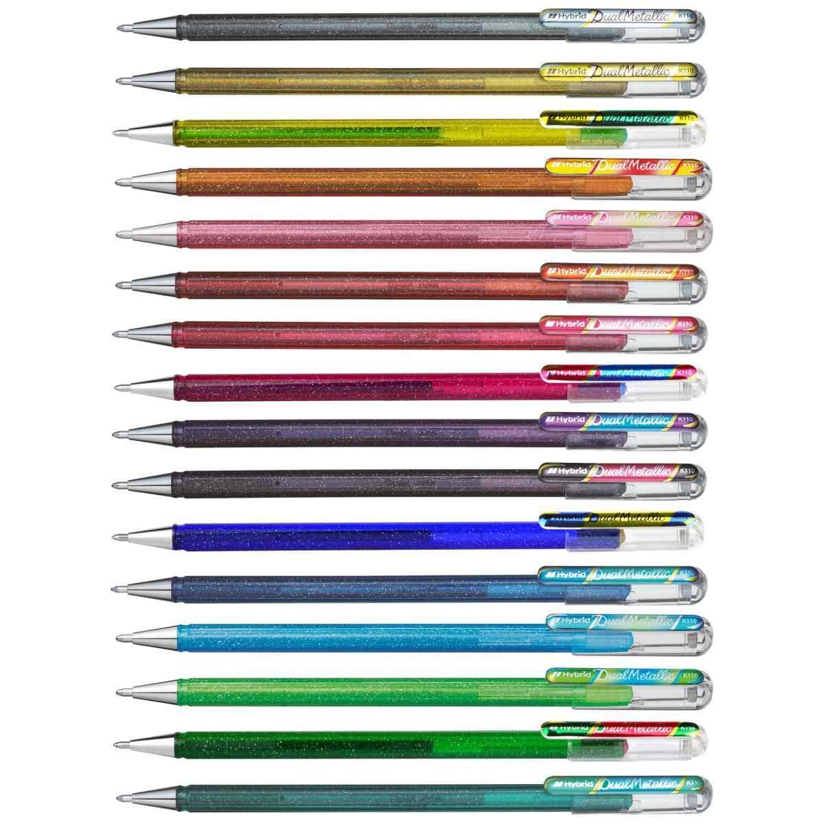 12pcs -Licht Rosa//Grun /& Gold Pentel Hybrid Dual Metallic K110 1.0mm Gel Stift