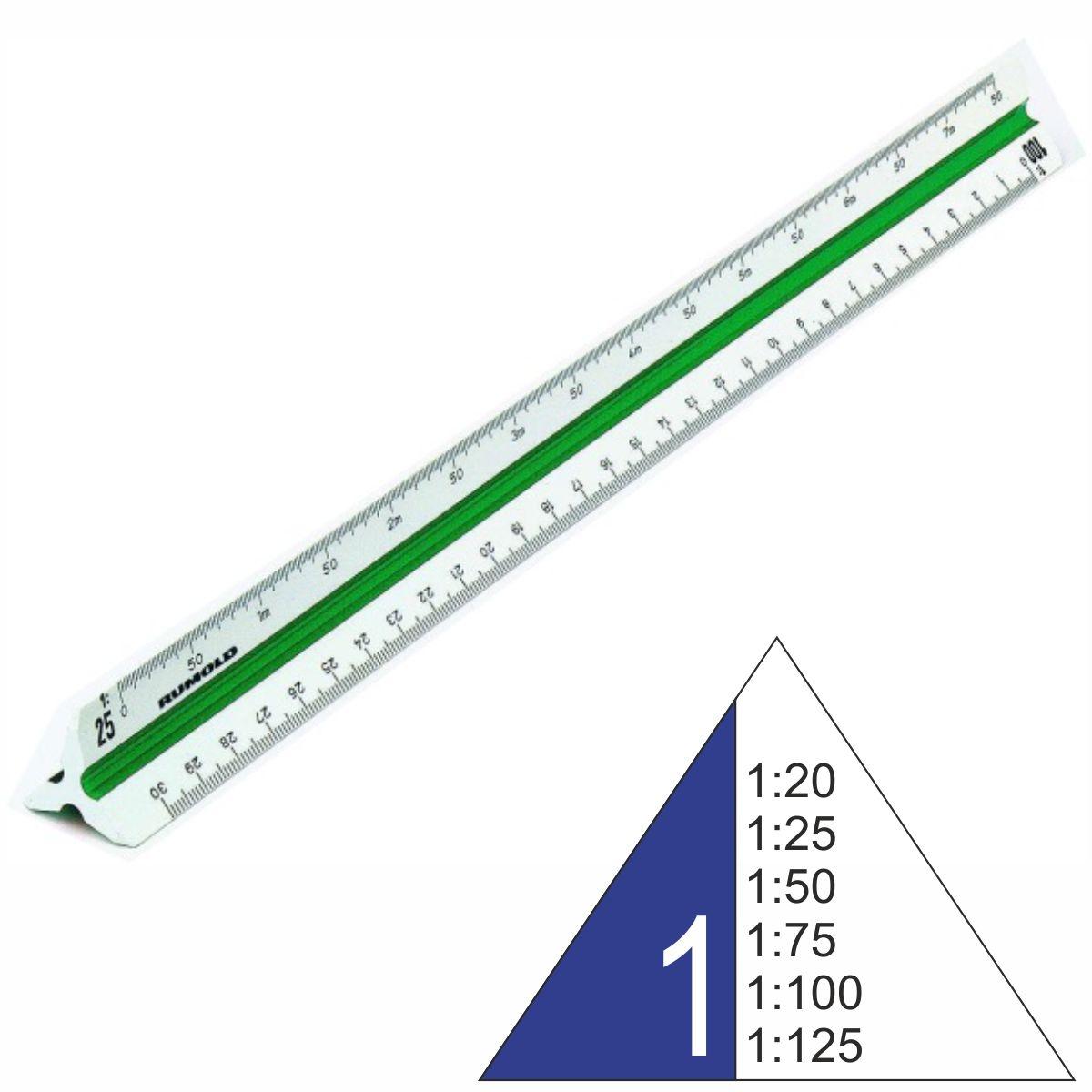 Dreikantmaßstab Dreiecklineal Maschinenbau Maßstab 1:20 bis 1:125 0231
