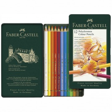 FABER CASTELL Farbstift POLYCHROMOS 110012 12 Farben im Metalletui