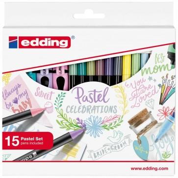 EDDING Pastell Colouring Promo Set 15-teilig Lackmarker 751, Fasermaler 1200, Highlighter 7