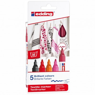 EDDING Textilmarker 4500 2-3mm 5 Stück Set -Warm Colours-