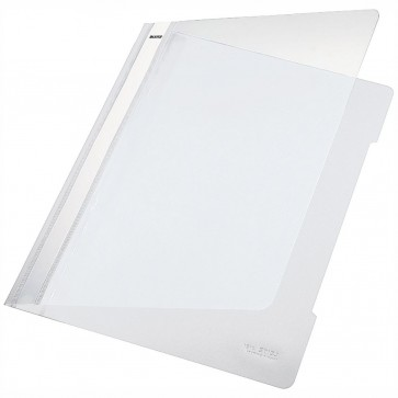 LEITZ Schnellhefter 4191 A4 PVC weiß mit transparentem Vorderdeckel