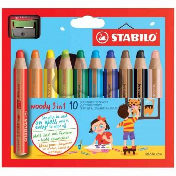 STABILO Farbstift Woody 880 3in1 10 Farben + Spitzer