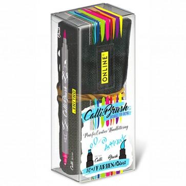 ONLINE Kalligraphie- / Pinsel Stift Calli.Brush 10+1 Farben im Stifterolle Etui