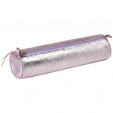 CLAIREFONTAINE Schlamperrolle rund 5,5 x 22cm echt Leder perlmuttrosa metallic