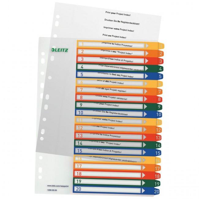 PP A4 farbig 10 Blatt Leitz Plastikregister bedruckbar