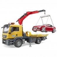 BRUDER 03750 MAN TGS Abschlepp LKW mit Roadster und Light & Sound Module