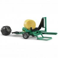 BRUDER 02122 Ballenwickler mit ockerbraunem und schwarzem Rundballen