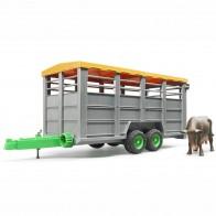 BRUDER 02227 Viehtransportanhänger mit 1 Kuh