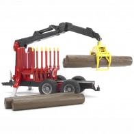 BRUDER 02252 Rückeanhänger mit Ladekran und 4 Baumstämmen und Holzgreifer
