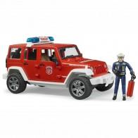 BRUDER 02528 Jeep Wrangler Unlimited Rubicon Feuerwehr Einsatzfahrzeug mit Figur