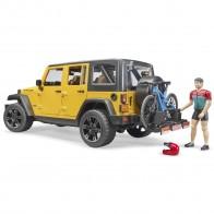 BRUDER 02543 Jeep Wrangler Rubicon Unlimited mit Mountainbike und Radfahrer