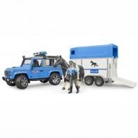 BRUDER 02588 Land Rover Defender Polizeifahrzeug mit Pferdeanhänger und Pferd und Polizist