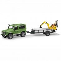 BRUDER 02593 Land Rover Defender Station Wagon mit Einachsanhänger JCB Mikrobagger 8010 CTS und Bauarbeiter