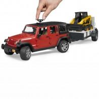 BRUDER 02925 JEEP Wrangler Unlimited Rubicon mit Einachsanhänger und CAT Kompaktlader