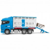 BRUDER 03549 Scania R-Serie Tiertransport-LKW mit 1 Rind