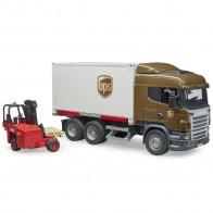 BRUDER 03581 Scania R-Serie UPS Logistik-LKW mit Mitnahmestapler