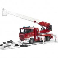 BRUDER 03590 Scania R-Serie Feuerwehrleiterwagen mit Wasserpumpe und Light & Sound Module inklusiv Batterie