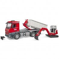 BRUDER 03624 MB Arocs LKW mit Abrollcontainer und Schaeff HR16 Minibagger