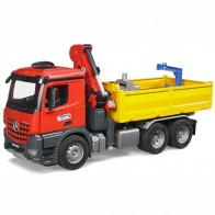 BRUDER 03651 MB Arocs Baustellen LKW mit  Kran, Schaufelgreifer und 2 Paletten