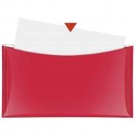 VELOFLEX Dokumententasche DL mit Druckknopf und Tasche rot