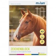 MILAN Zeichenblock 563/10 A3 10 Blatt 2seitig perforiert 100g
