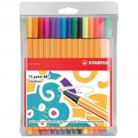 STABILO Fineliner point 88 Etui 10+5 neon Farben 0,4mm