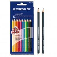 STAEDTLER Farbstift ergosoft 157 C12 Bundle 12 Stück + 2 Bleistifte GRATIS