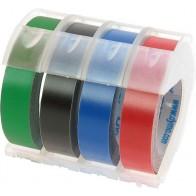 DYMO Prägeband Plastik  glänzend schwarz 9mm x 3m