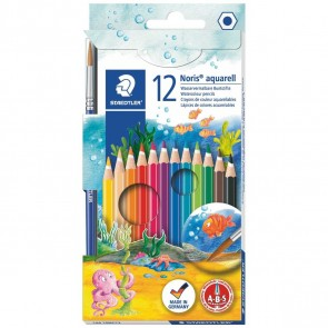 STAEDTLER Farbstifte Noris aquarell 12 Stück + Pinsel