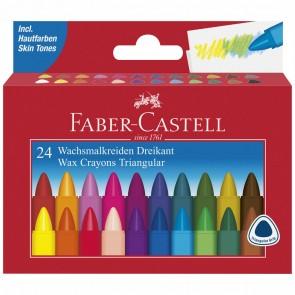 FABER CASTELL Wachsmalkreide dreikant 24 Stück wasserfest im Etui