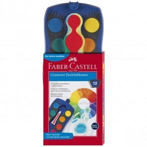 FABER CASTELL Deckfarbkasten Connector 12 Farben blau
