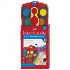 FABER CASTELL Deckfarbkasten Connector 24 Farben rot