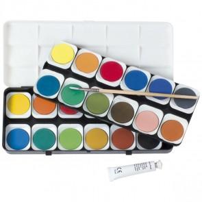 EBERHARD FABER Deckfarbkasten / Malkasten 24 Farben incl. Deckweiß