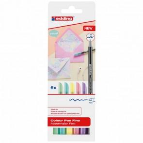 EDDING Fasermaler 1200 Pastel Set mit 6 Farben 0,5-1mm