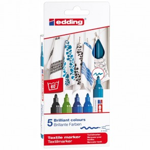 EDDING Textilmarker 4500 2-3mm 5 Stück Set -Cool Colours-