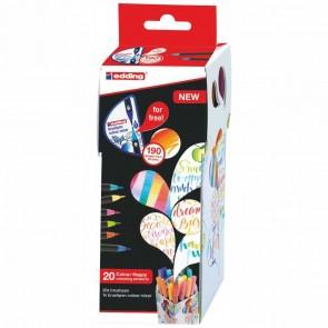 EDDING Pinselstift Brushpen 1340 Colour Happy Set 20 Farben + Mixer GRATIS