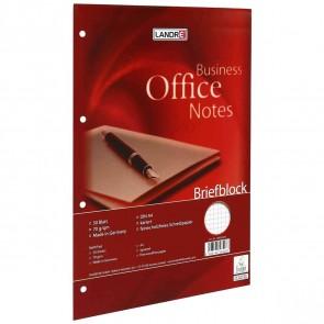 LANDRE Briefblock OFFICE A4 50 Blatt kariert 4-fach gelocht 10 Stück