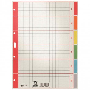 LEITZ Kartonregister Blanko 4350 A4 6-teilig farbig