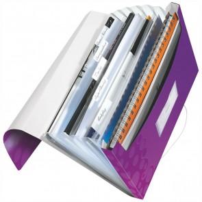 LEITZ Fächermappe 4589 WOW A4 PP 6 Fächer violett metallic
