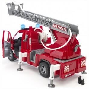 BRUDER 02532 Mercedes Benz Sprinter Feuerwehr mit Drehleiter Wasserpumpe und Light & Sound Module (trucks) inkl. Batterie