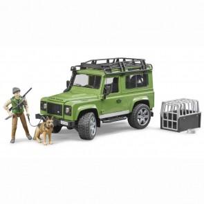 BRUDER 02587 Land Rover Defender Station Wagon mit Förster und Hund