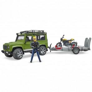 BRUDER 02589 Land Rover Defender mit Anhänger und Scrambler Ducati Full Throttle mit Fahrer