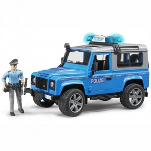 BRUDER 02597 Land Rover Defender Station Wagon  (blau, silber) Polizeifahrzeug und Polizist