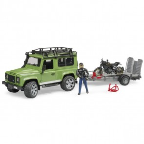 BRUDER 02598 Land Rover Defender Station Wagon mit Anhänger,  Scrambler Ducati Cafe Racer und Fahrer