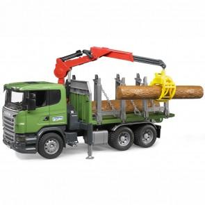 BRUDER 03524 Scania R-Serie Holtransporter-LKW mit Ladekran, Greifer und 3 Baumstämmen