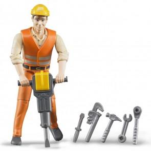 BRUDER 60020 Bauarbeiter bworld mit Zubehör