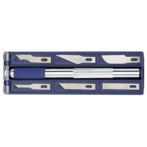 ECOBRA Skalpell Schneidesortiment Schablonenmesser 7-teilig in Kunststoff-Box