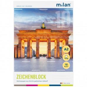 MILAN Zeichenblock 562/10 A2 10 Blatt 2seitig perforiert 100g