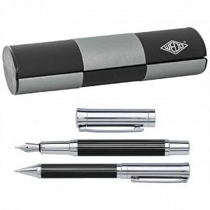 WEDO Schreibset Tyron Füllhalter + Kugelschreiber im Geschenketui chrom / schwarz